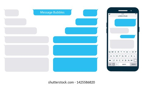 Smartphone, chatting sms app template bubbles. Place your own text to the message clouds. Social network messenger page template. Chat app template with mobile keyboard. Message Flat Bubbles