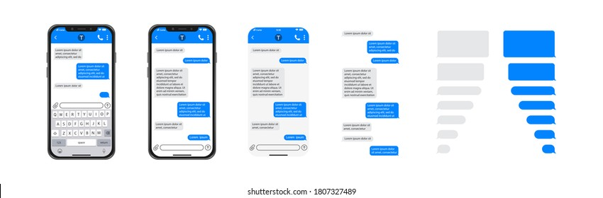 Smartphone chatting sms template bubbles, SMS chat composer, place your own text to the message, phone chatting sms template bubbles - Shutterstock ID 1807327489