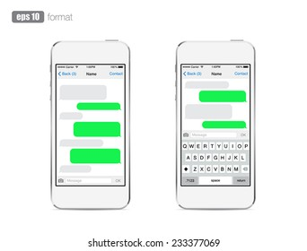 Smartphone Chatting Sms Template Bubbles Place Your Own Text To The Message Clouds Compose