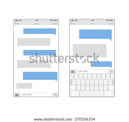 smartphone chatting sms template bubbles place stock vector royalty
