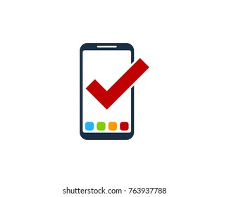 Smartphone Check Icon Logo Design Element