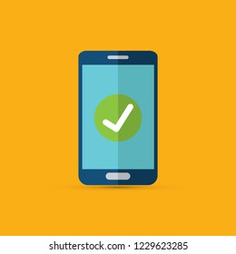 Smartphone with checkmark on display vector illustration