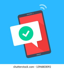 Smartphone with checkmark on screen. Modern flat design. Vector illustration