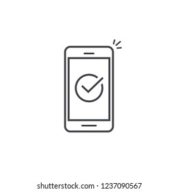 Smartphone and checkmark vector icon, line outline mobile phone approved tick notification, idea of successful update check mark, accepted, complete action on cellphone, yes or positive vote