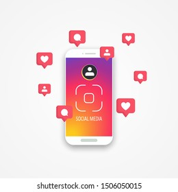 Smartphone with colorful background and icons notification. Visiting card. Social media instagram concept. Vector illustration. EPS 10