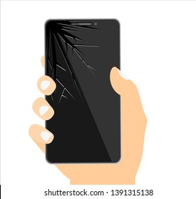 Smartphone with cracked screen. Damaged display. Broken glass touchscreen phone. illustration in flat style