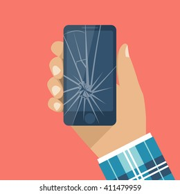Smartphone with a cracked screen in a man's hand. Broken phone. Crack on screen. Vector illustration flat design style.  Mobile phone is broken.