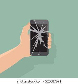 Smartphone with a cracked screen in a man's hand. Broken phone. Crack on screen. Vector illustration flat design style. Mobile phone is broken. smartphone.