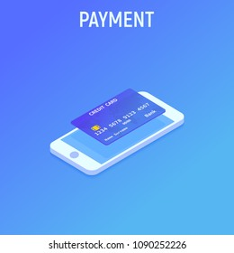 Smartphone and Cradit card. NFC payment. Isometric style. Vector illustration background
