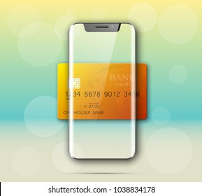 Smartphone & credit card banner. Advertising promo poster phone bank card icon. Communicator PDA Electronic money funds transfer. Plastic card phone software. Update banking icon. Debit bank card chip
