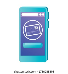 smartphone with credit card of money financial banking commerce and market theme Vector illustration