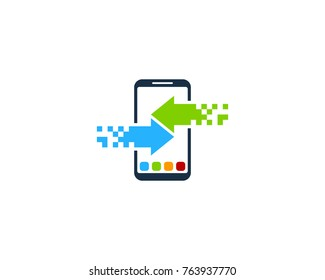 Smartphone Data Transfer Icon Logo Design Element