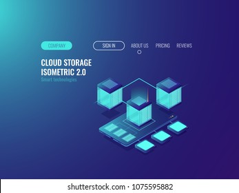 Smartphone with database icon, download files from cloud server, data center and databese concept, vpn technology and proxy servers neon isometric vector