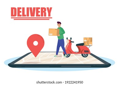 smartphone with delivery worker and motorcycle vector illustration design