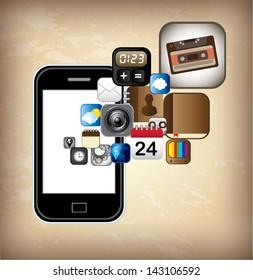 smartphone design over vintage background vector illustration