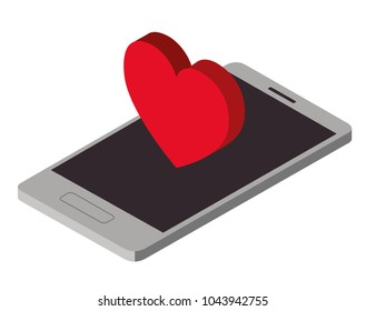 smartphone device with heart isometric icon