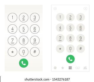 Smartphone dial keypad design. Mobile phone numbers panel, cellphones digital dialing communication screen, vector illustration