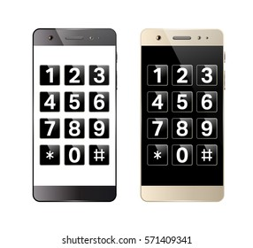 Smartphone with digital keypad. Mobile phone with numbers. Telephone button security lock. Vector illustration