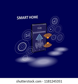 Smartphone with digital logo smart home stand at iot icons. Smart phone controls devices of smart home via wireless connection and voice commands