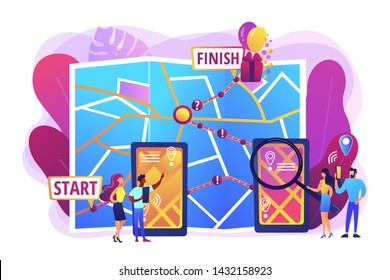 Smartphone digital map, GPS navigation mobile application. Interactive city quest, urban games organization, turistic adventure quest concept. Bright vibrant violet vector isolated illustration