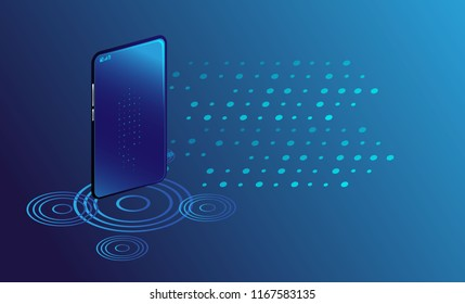 Smartphone with digital new concept business. Smart phone controls devices via wireless connection and voice commands. Background technology Internet of things concept.