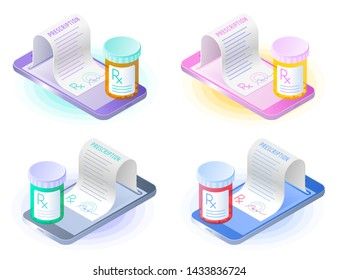 The smartphone, doctor online writes the medical prescription, pill bottle. Flat vector isometric illustration set. The telemedicine, telehealth, rx medicine, mobile healthcare, tele health concept.