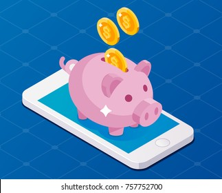 smartphone earning money with piggy