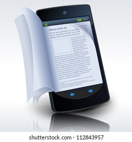 Smartphone E-Book/ Illustration of a smartphone e-book with realistic pages flipping effect. Imaginary model not made from a real existing mobile phone