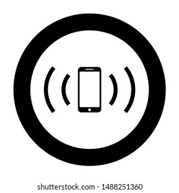 Smartphone emits radio waves Sound wave Emitting waves concept icon in circle round black color
