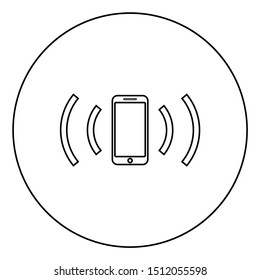 Smartphone emits radio waves Sound wave Emitting waves concept icon in circle round outline black color vector illustration flat style image