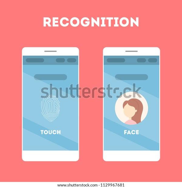 Smartphone Face Recognition Fingerprint Scanner Mobile Stock