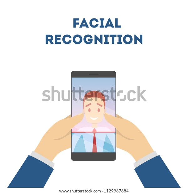 Smartphone Face Recognition Mobile Facial Scanner Stock