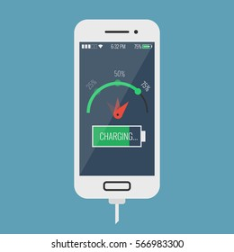 Smartphone fast battery charging in flat design style on colored background. Mobile phone with quick charge, can be used as icon, app, logo or web and infographic element, vector illustration eps10.