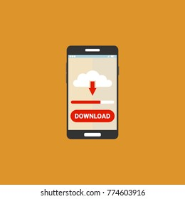 Smartphone with file download. Downloading process concept. Vector illustration.