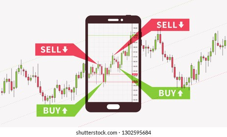 Smartphone with financial chart vector illustration. Forex trading (currency exchange market) graph creative concept. Candle stick chart with buy and sell marks graphic design.