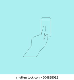 Smartphone, finger clicking. Simple outline flat vector icon isolated on blue background