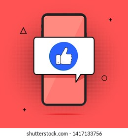 Smartphone and finger up, flat cartoon mobile phone approved message. Ticker, the idea of a successful person is taken, full action on a cell phone, yes or a positive vote. Vector illustration.