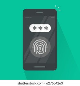 Smartphone with fingerprint button and password field vector, concept of security, personal access via finger on mobile phone, user authorization, login, protection technology