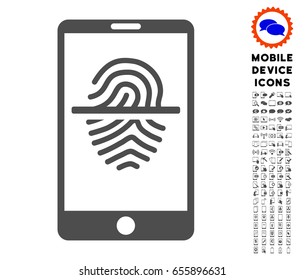 Smartphone Fingerprint Scanner icon with mobile communicator pictogram clip art. Vector illustration style is a flat iconic symbol, gray colors. Designed for web and software interfaces.