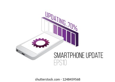 Smartphone firmware or software update. Isometric view. EPS 10 vector.