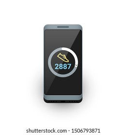 Smartphone with fitness tracker or steps counter app on screen. Vector illustration