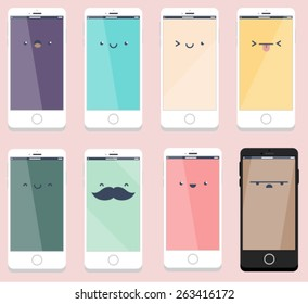 Smartphone Flat Designs with cute cartoon faces