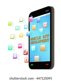 smartphone with floating  icon and mobile app development screen