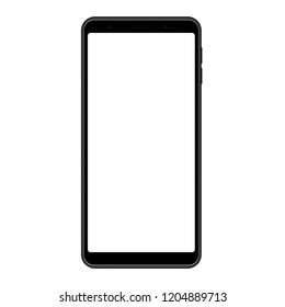 Smartphone frame, black mockup with blank screen - front view. Vector illustration