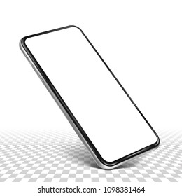 Smartphone frame less blank screen  - standing on corner, isolated transparent background with sample table surface - high detailed eps 10 vector illustration