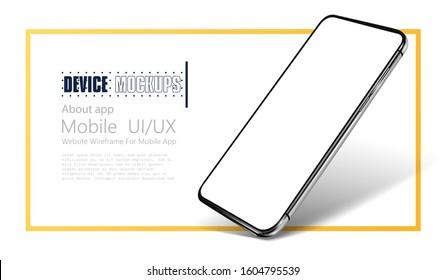 Smartphone frame less blank screen. Mockup generic device.  Realistic smartphone template mockup for user experience presentation. Mobile app mock-up vector illustration