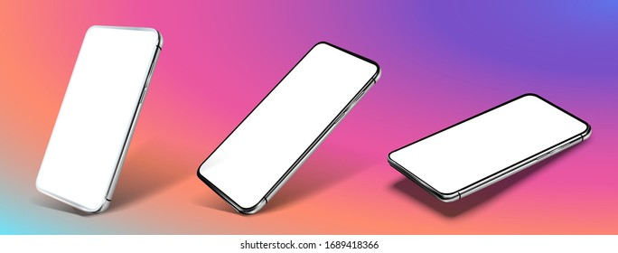 Smartphone frame less blank screen, rotated position. Smartphone from different angles. Mockup generic device. Vector smartphones set.Template for infographics or presentation 3D realistic phones. UX