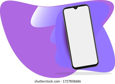 Smartphone frame less blank screen, rotated position. 3d isometric illustration cell phone. Smartphone perspective view. Template for infographics or presentation UI design interface. vector