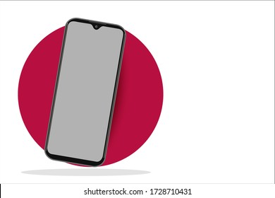 Smartphone frame less blank screen, rotated position.  illustration cell phone. Smartphone perspective view. Template for infographics or presentation UI design interface. vector.eps10