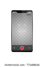 Smartphone with frame less recording video vector illustration. Vertical orientation phone with transparent screen template for your images.